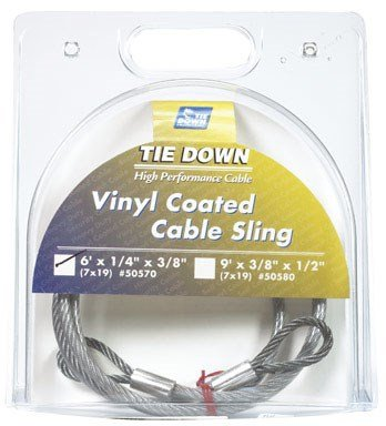 Coated Galvanized Steel Cable (Tie Down 50570 Tie Down Engineering 50570, Galvanized Security Cable, Vinyl Coated, 1/4