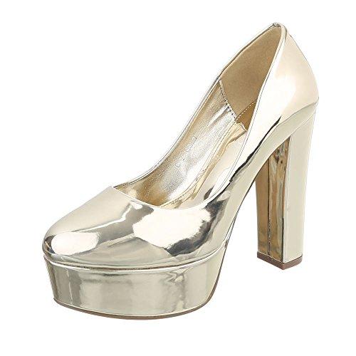 sports shoes 576b8 e86ce Damen Schuhe YK2240 Damen Pumps Gold C-7-4