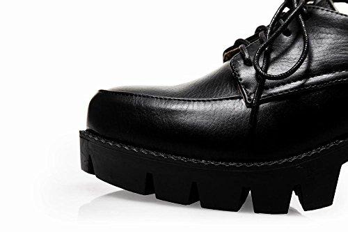 Latasa Kvinna Mode Plattform Blockera Hög Klack Spets-up Oxford Skor, Arbetsskor Svart