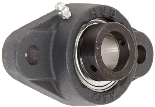 "Hub City FB230URX1 Flange Block Mounted Bearing, 2 Bolt, Normal Duty, Relube, Eccentric Locking Collar, Narrow Inner Race, Cast Iron Housing, 1"" Bore, 1.551"" Length Through Bore, 3.89"" Mounting Hole Spacing"