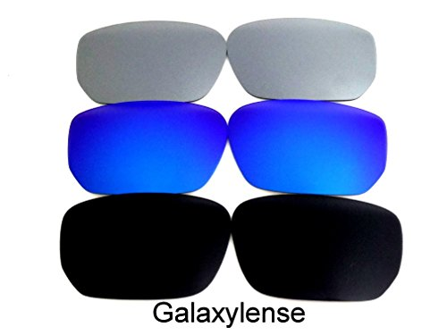 Galaxy Replacement Lenses For Oakley Style Switch Black&Blue&Titanium 3 - Switch Lens Sunglasses Replacement