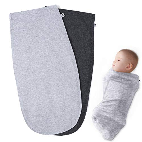 Swaddle Blanket Sage - Henry Hunter Baby Swaddle Cocoon Sack | 1, 2, 3 Packs | The Simple Swaddle | Soft Stretchy Comfortable Cotton Blanket for Babies Infants & Newborns 0-3 Months (2 Pack - Light | Dark Heather)