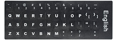 [2PCS PACK] HRH English Keyboard Stickers,PC Keyboard Stickers Black Background with White Lettering for (Background Pack)