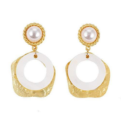 (Endicot Fashion Pearl Shell Asymmetry Geometric Ear Hoop Stud Earrings Woman Jewelry   Model ERRNGS - 16763  )