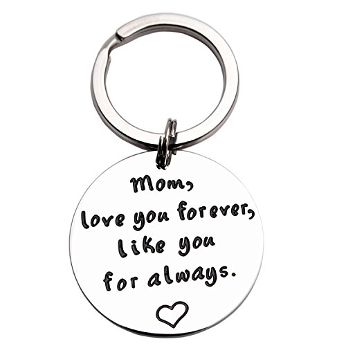 LParkin I Love You Forever I Like You For Always Gift For Mom Mothers Keychain Mothers Day Gift Mom Keychain (Keychain) (Mom Polished Ring)
