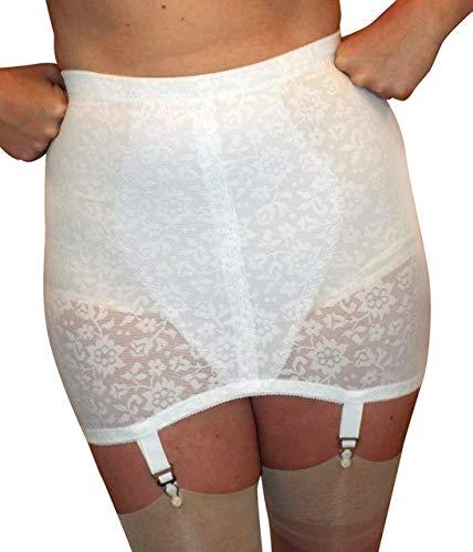 Crown-ette Plus-Sized Open Girdle Women's with 4 Garters White Powernet Vintage-New (46-Waist)