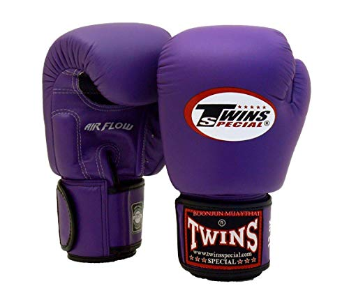 Twins Special Muay Thai Boxing Gloves BGVLA 2 Air Flow Gloves. Univesal Gloves for Training or Sparring. (Purple, 14 oz)