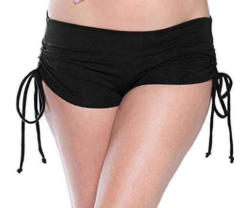 Black Drawstring Side Yoga Shorts For Women