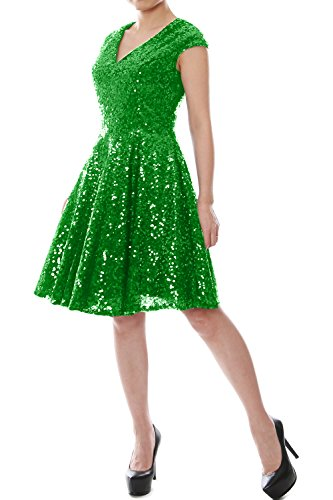 Women Sleeve Green Sequin Cap MACloth V Gown Dress Party Formal Neck Short Bridesmaid 6dEqU7w