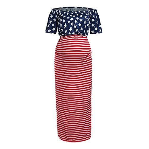 Huifa Women Maternity Sundress Off Shoulder American Flag 4th of July Pregnancy Dress (Red,S) (Dress Sun American Apparel)