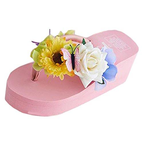 Scothen Mensaje del dedo del pie sandalias para la flor de zapatos de playa tirón de las mujeres fracasos zapatillas sandalias de deslizamiento de vacaciones de verano sandalias romanas sandalias D