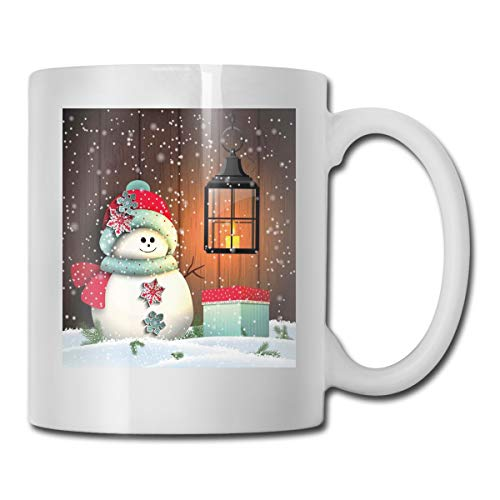 Funny Ceramic Novelty Coffee Mug 11oz,Cute Snowman With Santa Hat In The Garden With A Gift Box And Lantern Image,Unisex Who Tea Mugs Coffee Cups,Suitable for Office and Home (Beverage Snowman Dispenser)