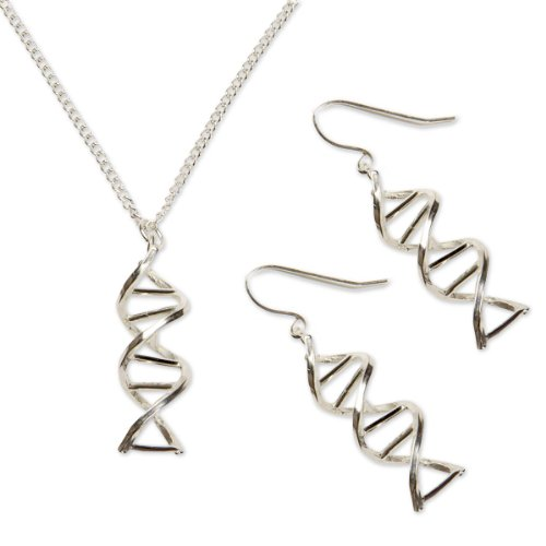 Sterling Silver Double Helix Earrings Necklace Set