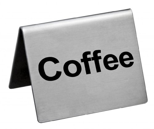 """New Star Foodservice 27068 Stainless Steel Table Tent Sign, """"Coffee"""", 2-Inch by 2-Inch, Set of 6"""