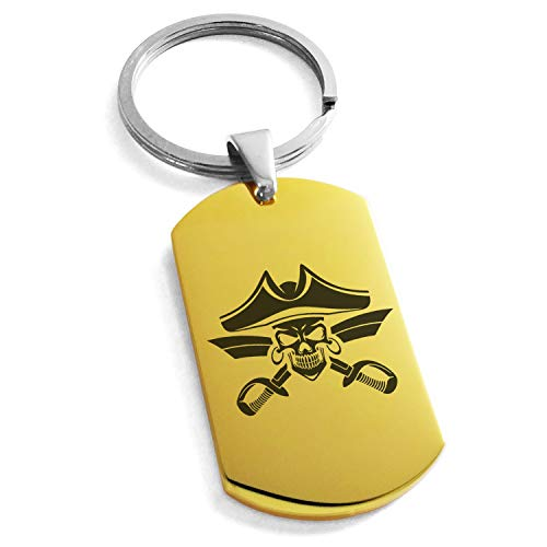 - Tioneer Gold Plated Stainless Steel Jolly Roger Skull Pirates Cross Swords Engraved Dog Tag Keychain Keyring