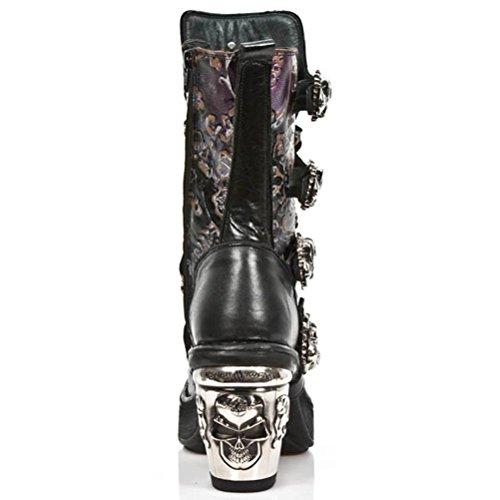 NEWROCK New Rock Bottes Style M.8366 S6 Pourpre Millésime Fleur nrk Crâne Femmes