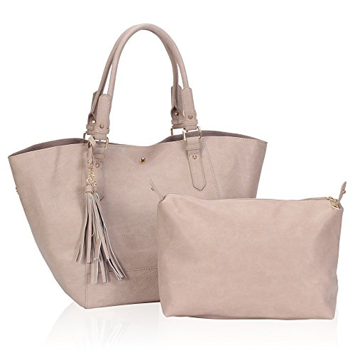 [Hynes Victory Large Tassels Tote Handbags for Women Shoulder Bags with Pouch Purse] (Pink Soft Leather)