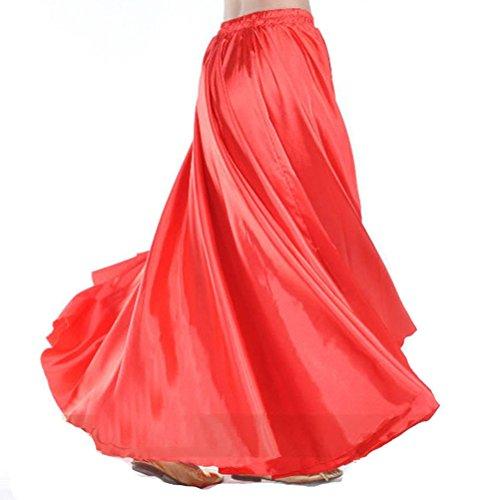 MUNAFIE Belly Dance Satin Skirt Arabic Halloween Shiny Skirt Fancy Full Skirt US0-14 Red