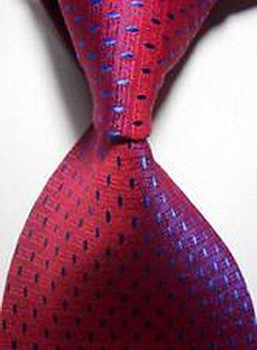 MINDoNG Necktie Pattern Polka Dot Blue Red JACQUARD WOVEN Men's Tie GAG # 33309