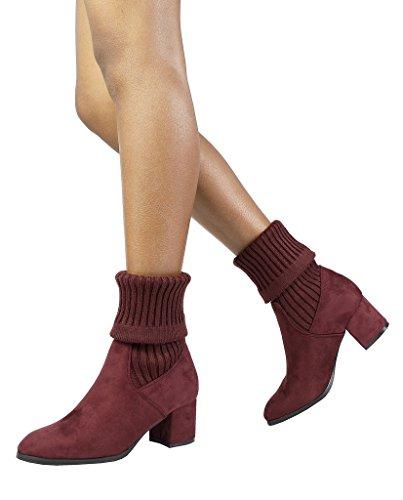 DREAM PAIRS Damen ANKLEG Chunky Heel Ankle Booties Burgunder-s