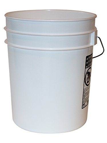 5 Gallon Heavy Duty White Plastic Bucket, 10-Pack - Argee RG5700/10