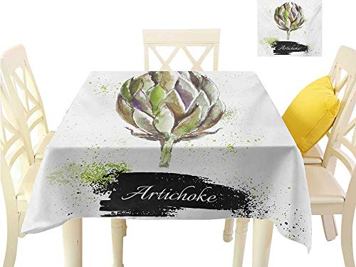 Angoueleven Picnic Cloth Artichoke,Hand Drawn Delicious Fresh Vegetable Healthy Menu Good Eats Super Food,Fern Green and Black Table Cover W 36
