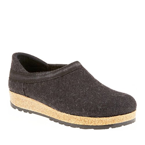 - Haflinger Gzh Clog - Charcoal Leather Trim - 40