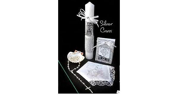 Amazon.com: Spanish Handmade Christening/Baptism Set for Girl, Boy Cross Silver : Candle, Prayer Booklet, Dry Cloth, Sea Shell, and Rosary –Bautizo ...
