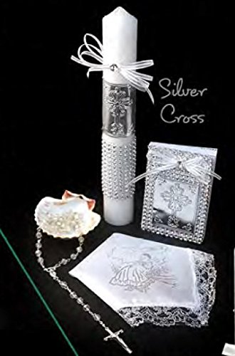 Spanish Handmade Christening/Baptism Set for Girl, Boy Cross Silver : Candle, Prayer Booklet, Dry Cloth, Sea Shell, and Rosary -Bautizo Religious Gift