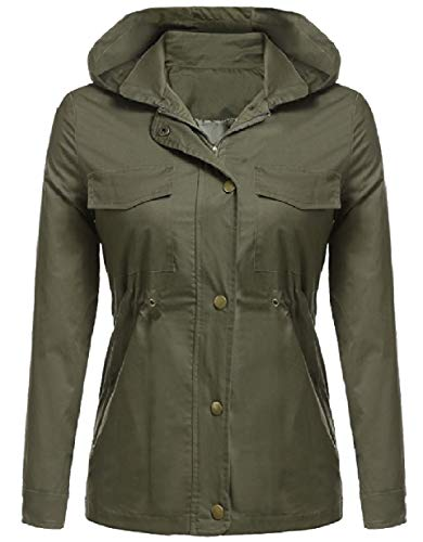 Mogogo Womens Fall Winter Rain Jacket Cotton Hoodie Windproof Anorak Army Green