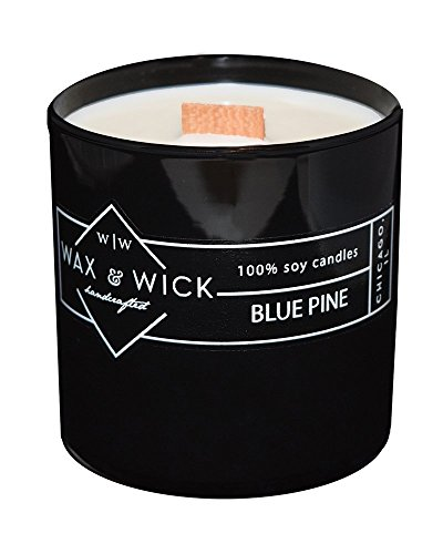 (Scented Soy Candle: 100% Pure Soy Wax with Wood Double Wick | Burns Cleanly up to 60 Hrs | Blue Pine Scent with Notes of Citrus, Cedarwood, and Pine. | 12 oz. Black Jar by Wax and Wick )