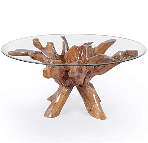 (Teak Root Dining Table Including 55 Inch Round Glass Top Made by Chic Teak)