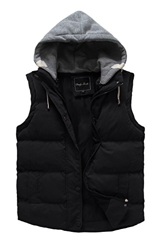 Cloudy Arch Women's Winter Outwear Vest Detachable Hood Waistcoat, US XL, Black (Hooded Womens Vest)