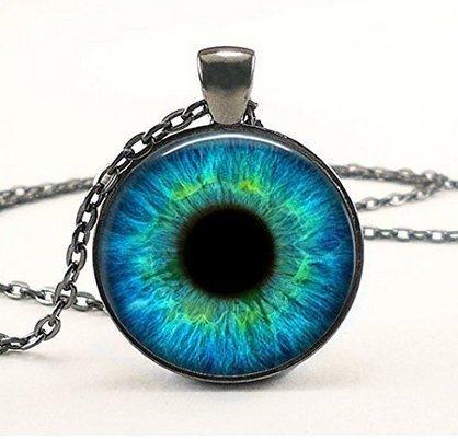 Turquoise Blue Cat Eye Necklace - Many Custom Options - Realistic Animal Dragon Eyeball Pendant - Steampunk Gothic Necklace