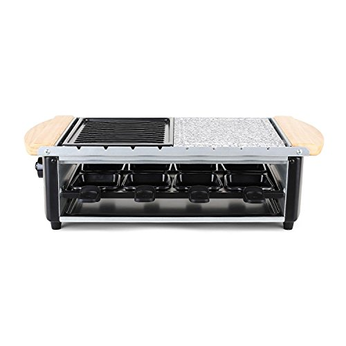 King of Raclette RECTANGULAR Party BBQ Grill with Temperature Control & Safety Indicator Electric Nonstick BBQ Indoor Grill / Outdoor Grills for up to 8 People