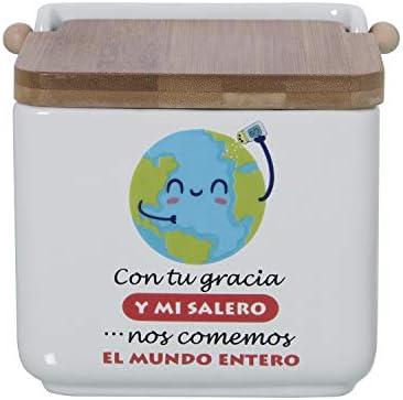 DRW Salero Original cer/ámica Cuadrado con Tapa bamb/ú 12x12x12 cm Cocinando con salero