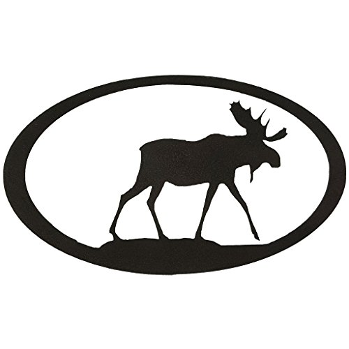 7055 Inc Rustic Elements Moose Oval Metal Wall Art, Hammered Black - Moose Metal Wall