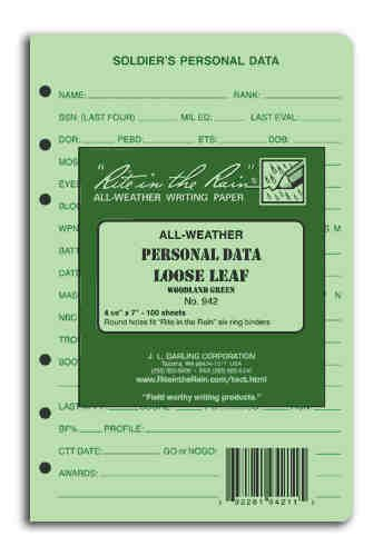 Rite in the Rain Soldier's Personal Data Loose Leaf Green 4 5/8'' x 7'' by Rite In The Rain