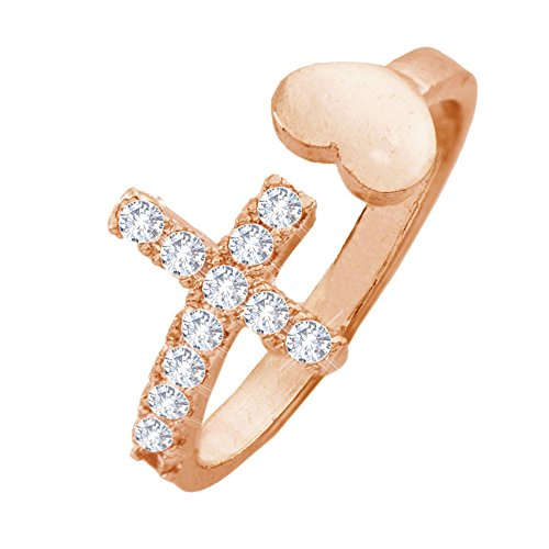 Rose Gold Cubic Zirconia Cross and Love Open Adjustable Ring for Women
