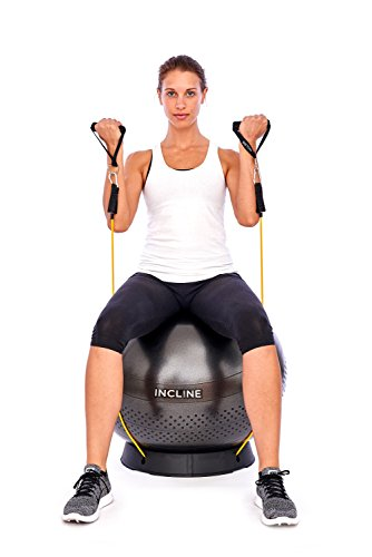 Incline Fit Anti Burst Yoga Exercise Ball with Pump and Ball Base
