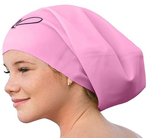 Lahtak Extra Large Swimming Cap - Stylish, Waterproof Silicone Swim Hat for Long Hair Women & Men| Designed for Thick, Curly or Dreadlocks Hair | Suits Recreational Swimmers (Rose Q - Loose Forms Pack