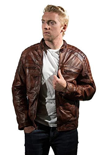 Cafe Racer Bikers Leather Jacket For Men Vintage 100% Wax Genuine Leather Jacket, Brown, X-Large
