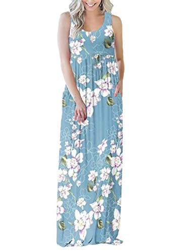 (SWQZVT Women's Summer Bohemian Floral Dresses Sleeveless Pockets Racerback Scoop Neck Casual Long Maxi Tank Dress Light Blue Flower XL)