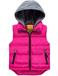 Girl's Hooded Lightweight Puffer Vest Padded Warm Sleeveless Jacket Gilet
