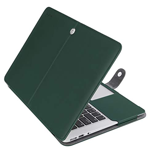 MOSISO MacBook Air 13 inch Case, Premium PU Leather Case Book Folio Protective Stand Cover Sleeve Compatible with MacBook Air 13 inch A1466 / A1369 (Older Version Release 2010-2017), Peacock Green