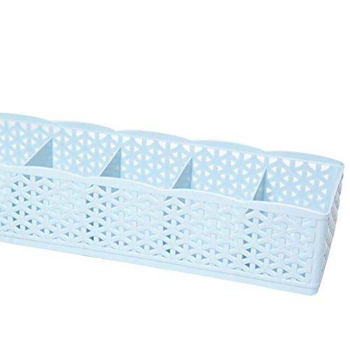 Price comparison product image Storage Box,Clearance!AmyDong Socks Storage Box Can Be Stacked 5 Cells Plastic Organizer Storage Box Tie Bra Socks Drawer Cosmetic Divider (Blue)