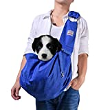 Cheap artisome Reversible Medium Dogs & Cats Sling Carrier Bag Suitable for 8-15 lbs Purse Waterproof Travel Hand-Free Pet Backpack (Blue)