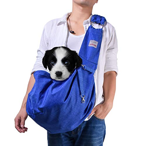 artisome Reversible Small Medium Dogs Cats Sling Carrier Bag Purse Pouch Travel Hand-Free Pet Backpack