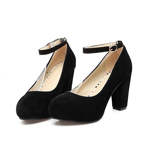 YE Damen Ankle Strap Pumps Blockabsatz High Heels Plateau mit Riemchen und 8cm Absatz Elegant Schuhe QaM9H
