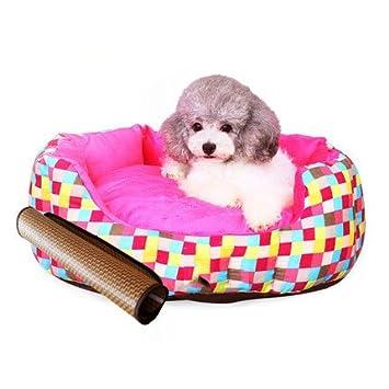 Cama para Perros Cama para Perros Cama para Gatos Nido para Mascotas Respirable Confort Lavable Suave Four Seasons Indoor Rosa Short Plush 75 * 70 * 22Cm: ...